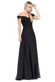 DANCING QUEEN Black Lace Off Shoulder Long Formal Dress - Product Mini Image