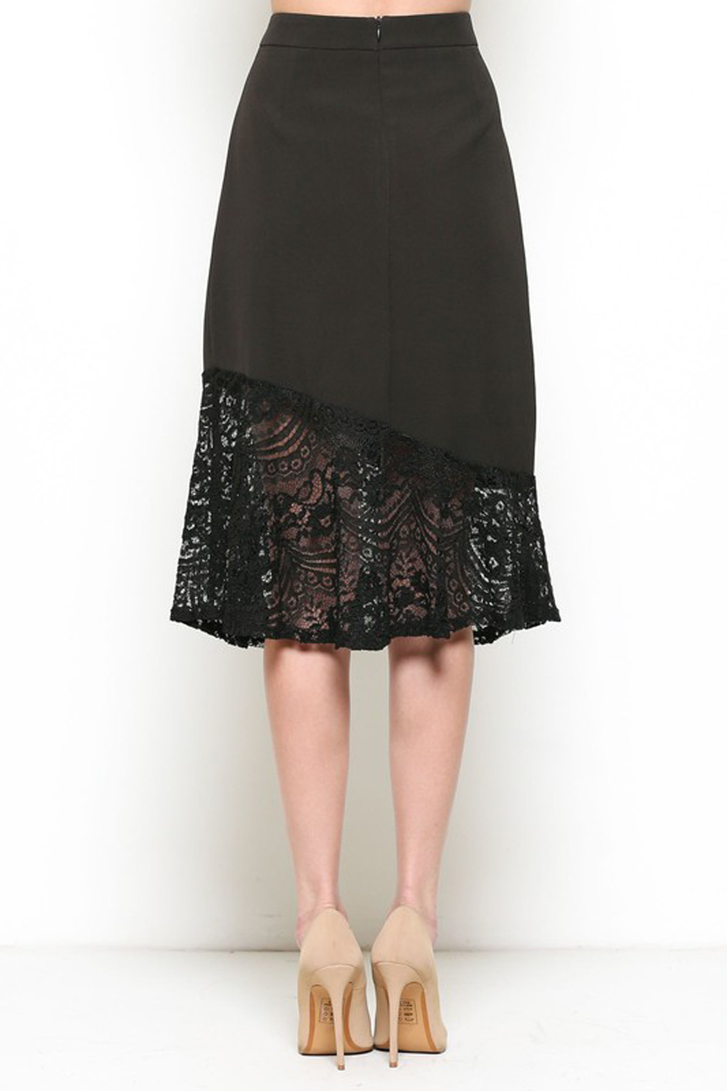 Esley Black Lace Trim Skirt - Side Cropped Image
