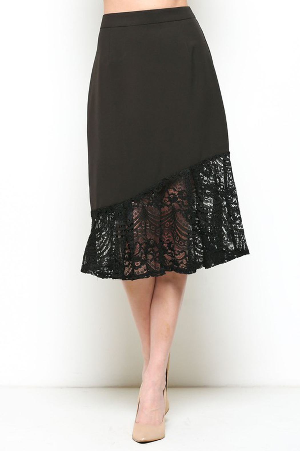Esley Black Lace Trim Skirt - Main Image
