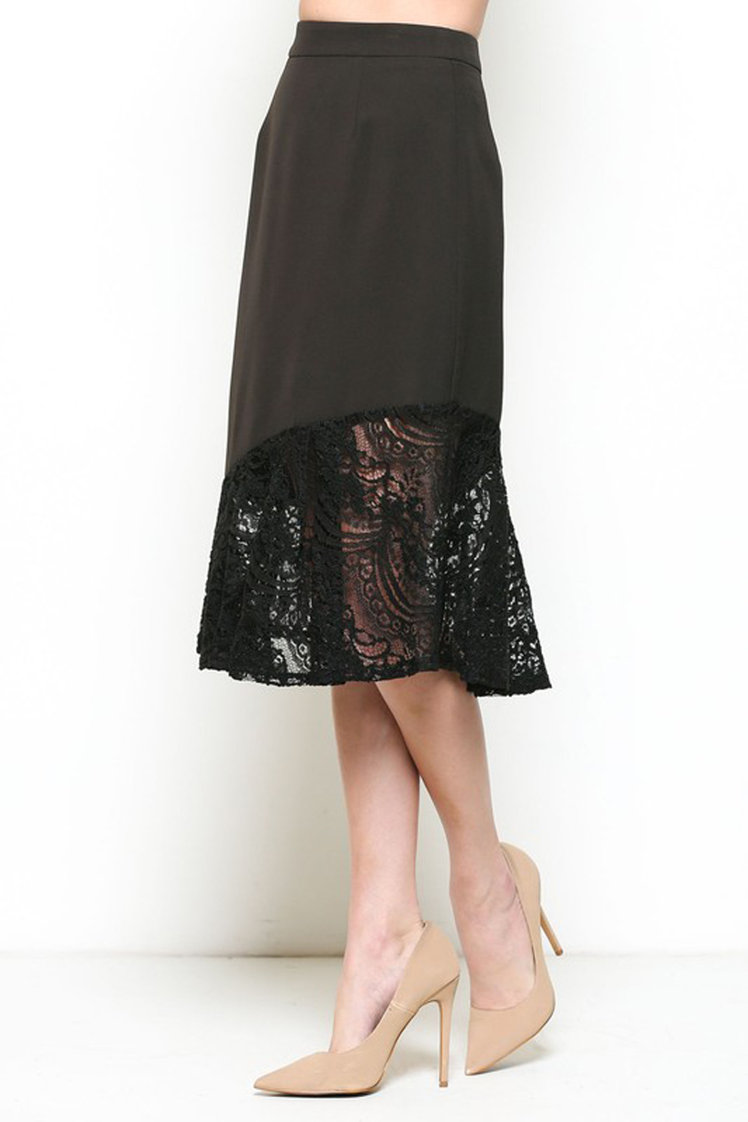 Esley Black Lace Trim Skirt - Front Full Image
