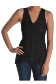T Party Black Lace Trim Sleeveless Top - Product Mini Image