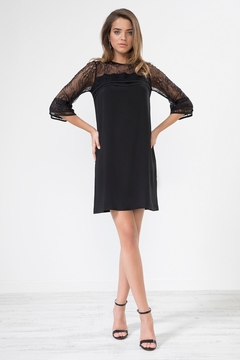 Urban Touch Black Laceshoulder Shiftdress - Product List Image