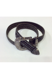 DiJore Black Leather Belt with Crystals and Metal Stud Embellishment - Product Mini Image
