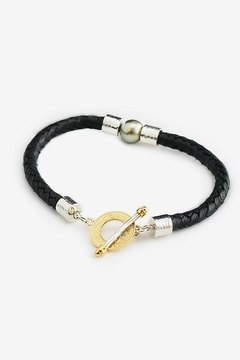 Eduardo Sanchez Black Leather Bracelet - Product List Image