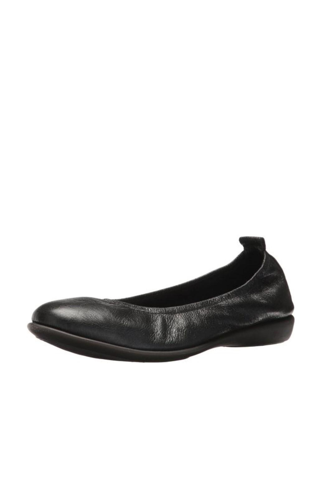 The Flexx Black Leather Flat - Front Cropped Image