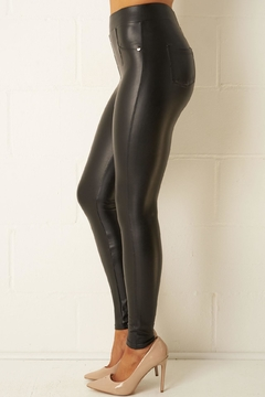 frontrow Black Leather-Look Leggings - Alternate List Image