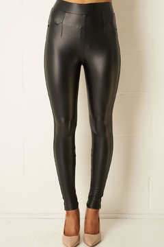 frontrow Black Leather-Look Leggings - Product List Image