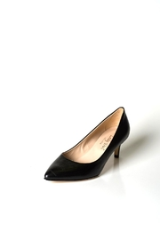 Lady Doc Black Leather Pumps - Front full body