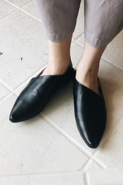 Yuko Imanishi Black Leather Slides - Product Mini Image