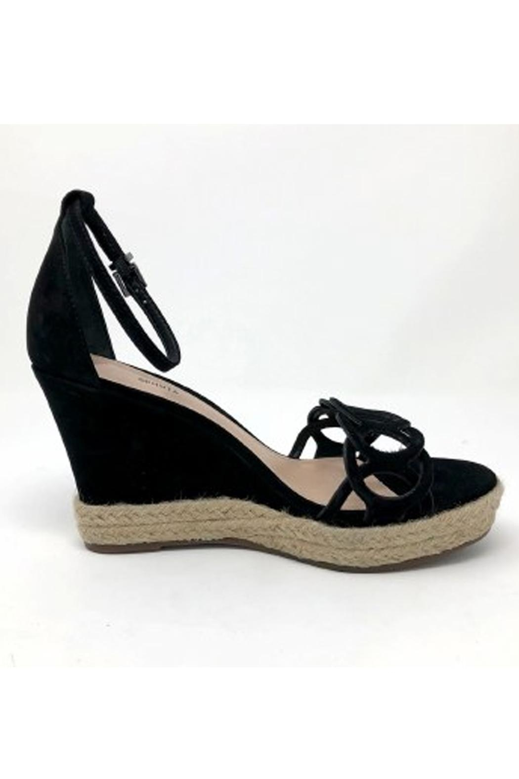 Schutz Black Leather Wedges - Side Cropped Image