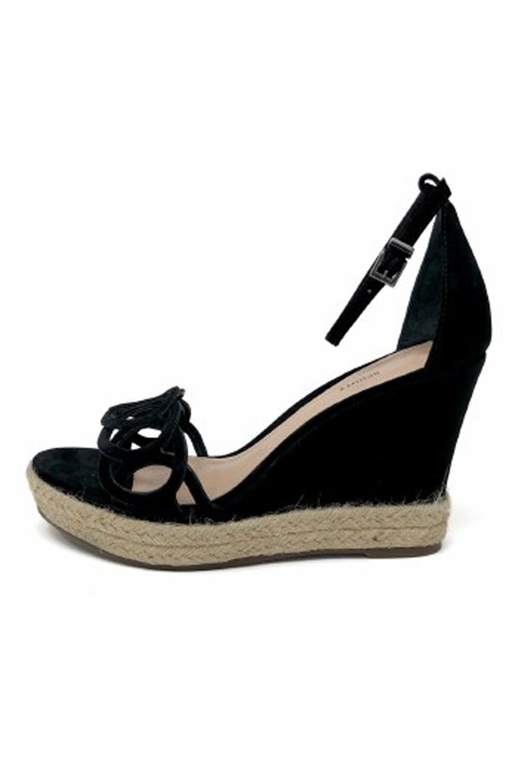Schutz Black Leather Wedges - Front Cropped Image