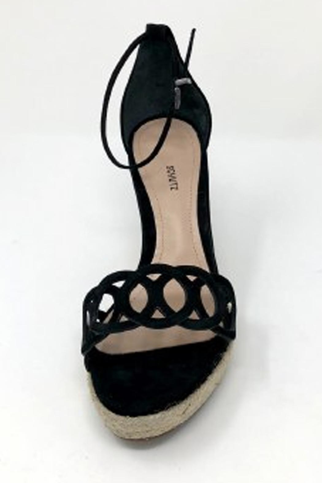 Schutz Black Leather Wedges - Back Cropped Image