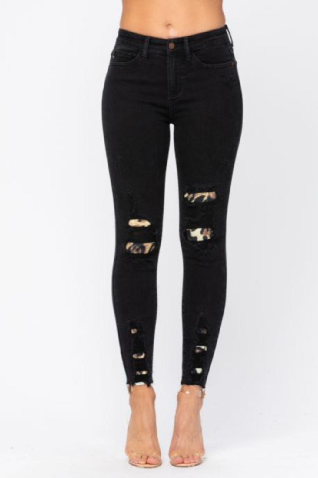Judy Blue Black Leopard Patch Skinny Jeans - Front Full Image