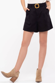 Mine and E&M Black Linen High Waisted Shorts with Carved Belt - Product Mini Image