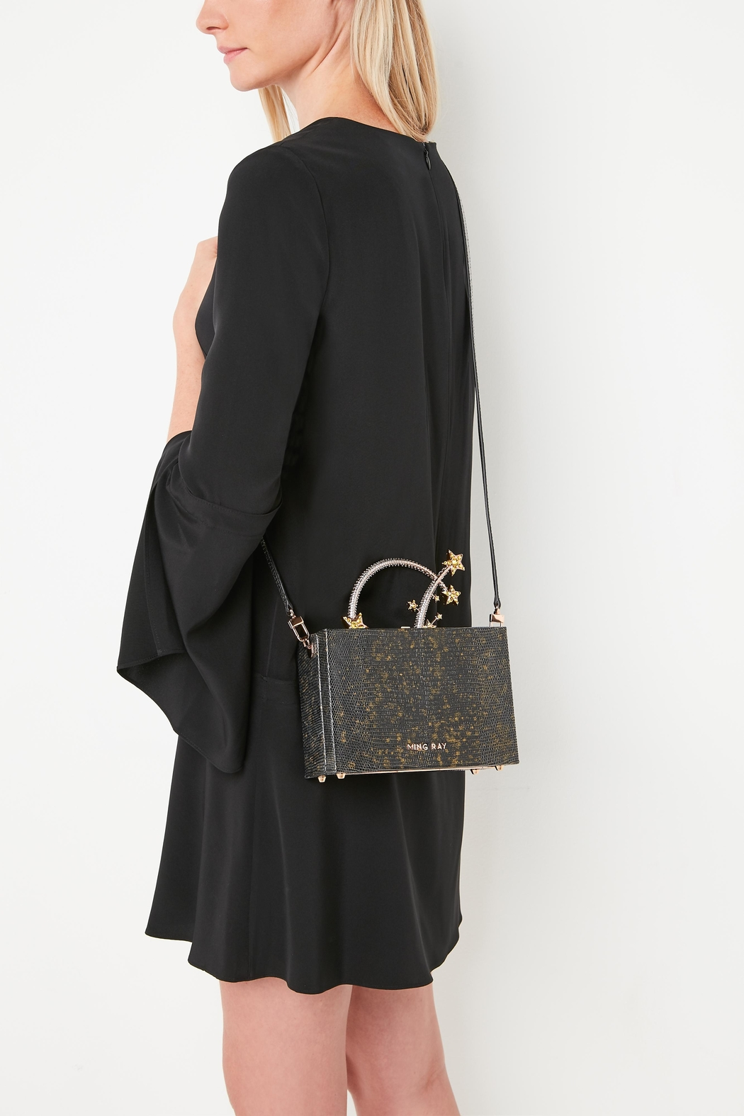 Ming Ray Black Lizard Clutch - Side Cropped Image