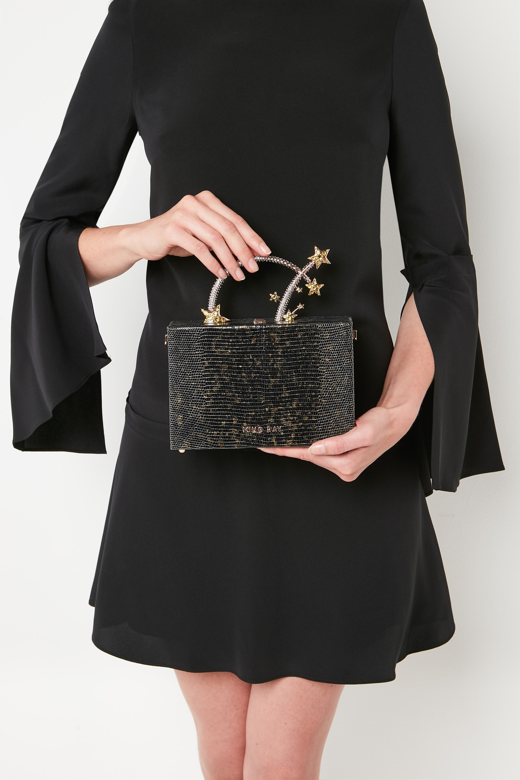 Ming Ray Black Lizard Clutch - Front Full Image