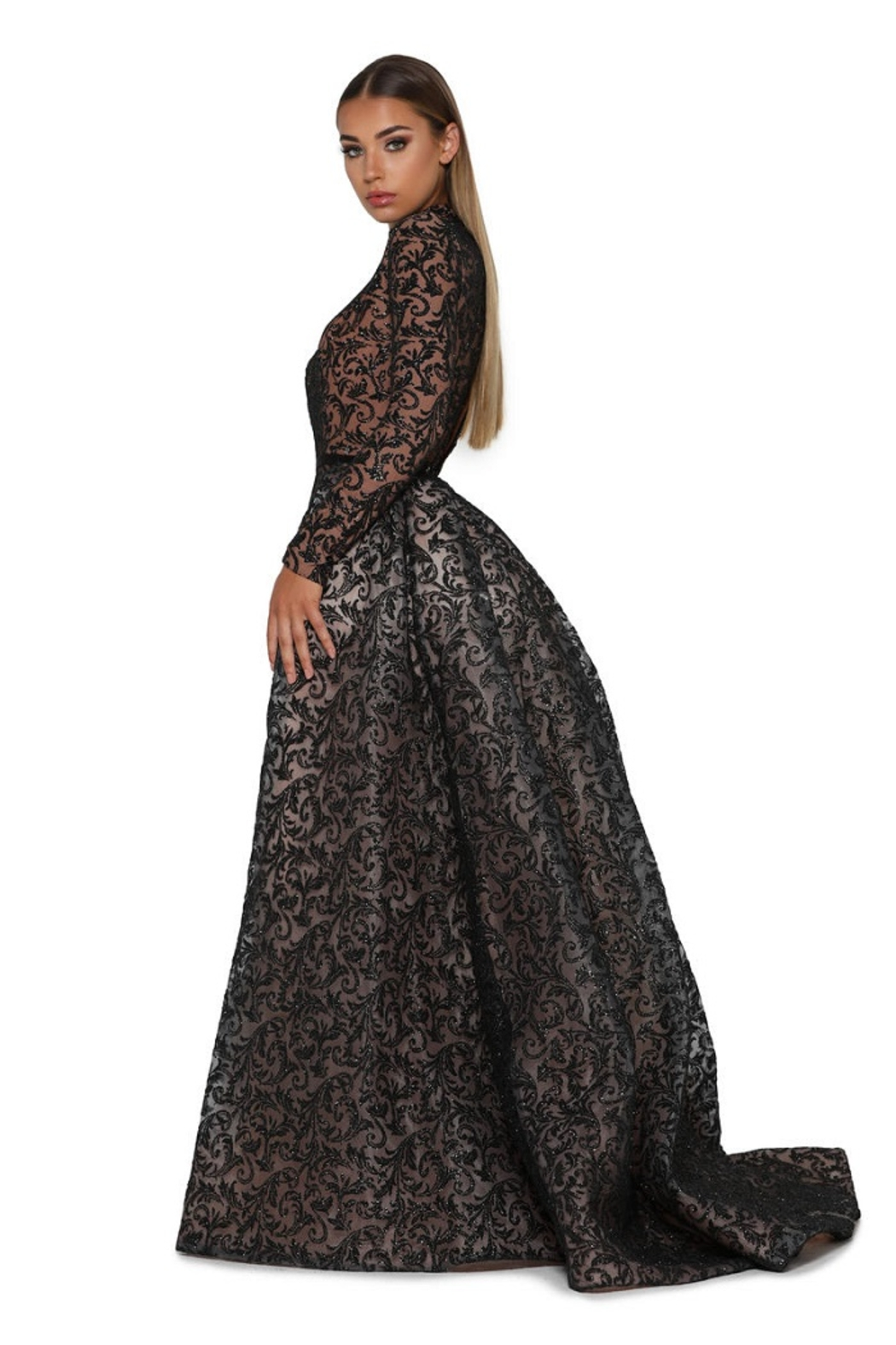 PORTIA AND SCARLETT Black Long Sleeve Glitter Long Formal Dress With Detachable Train - Front Full Image