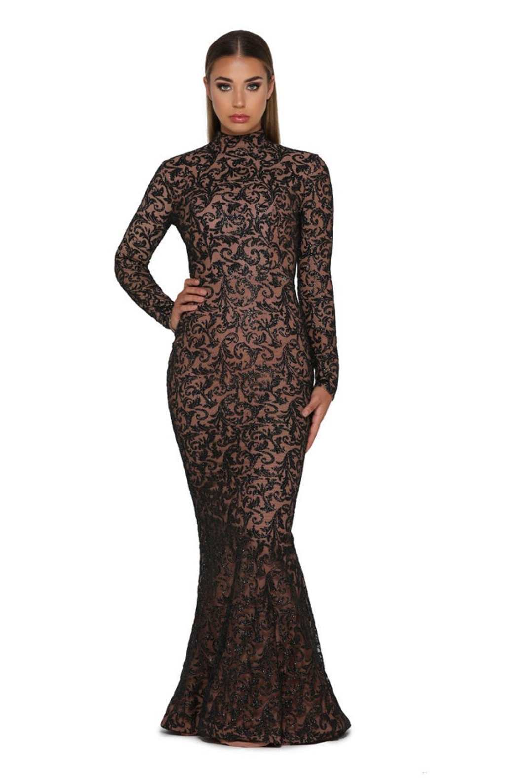 PORTIA AND SCARLETT Black Long Sleeve Glitter Long Formal Dress With Detachable Train - Side Cropped Image