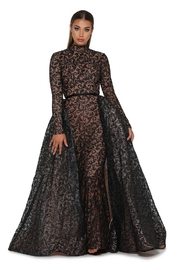 PORTIA AND SCARLETT Black Long Sleeve Glitter Long Formal Dress With Detachable Train - Front cropped