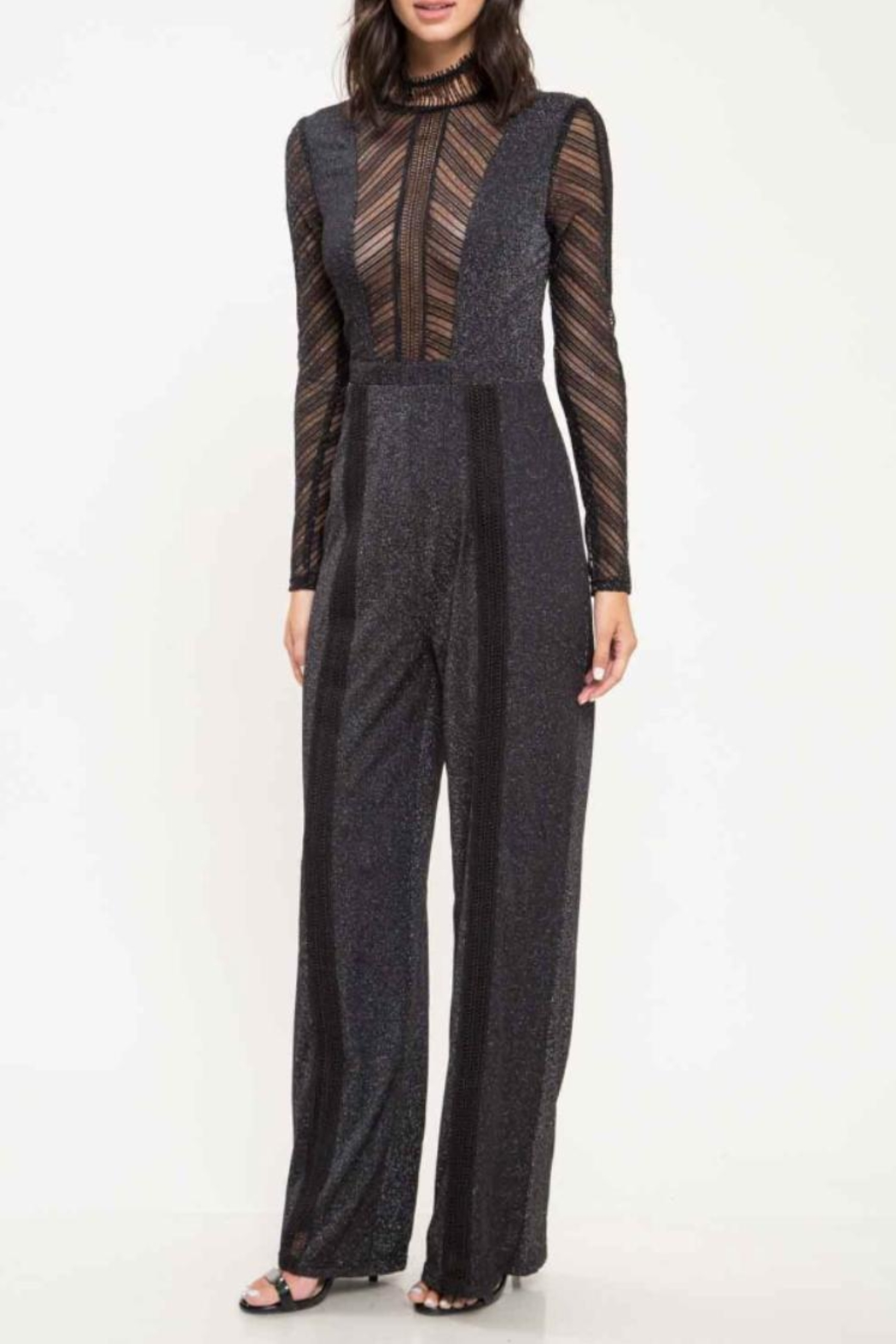 Latiste Black Long-Sleeve Jumpsuit - Front Cropped Image