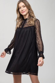 Blu Pepper Black Long Sleeve Lace Dress - Product Mini Image