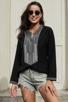 Miss Sparkling  Black Long Sleeves Front Embroidered Blouse - Product List Image