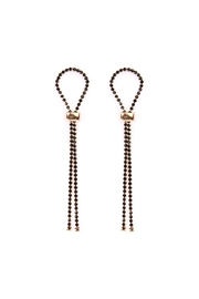 Riah Fashion Black Looped-Rhinestone Drop-Earrings - Product Mini Image