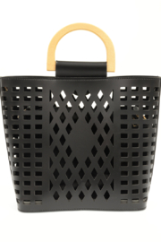 Joy Susan  Black Madison Cut Out Tote - Front full body