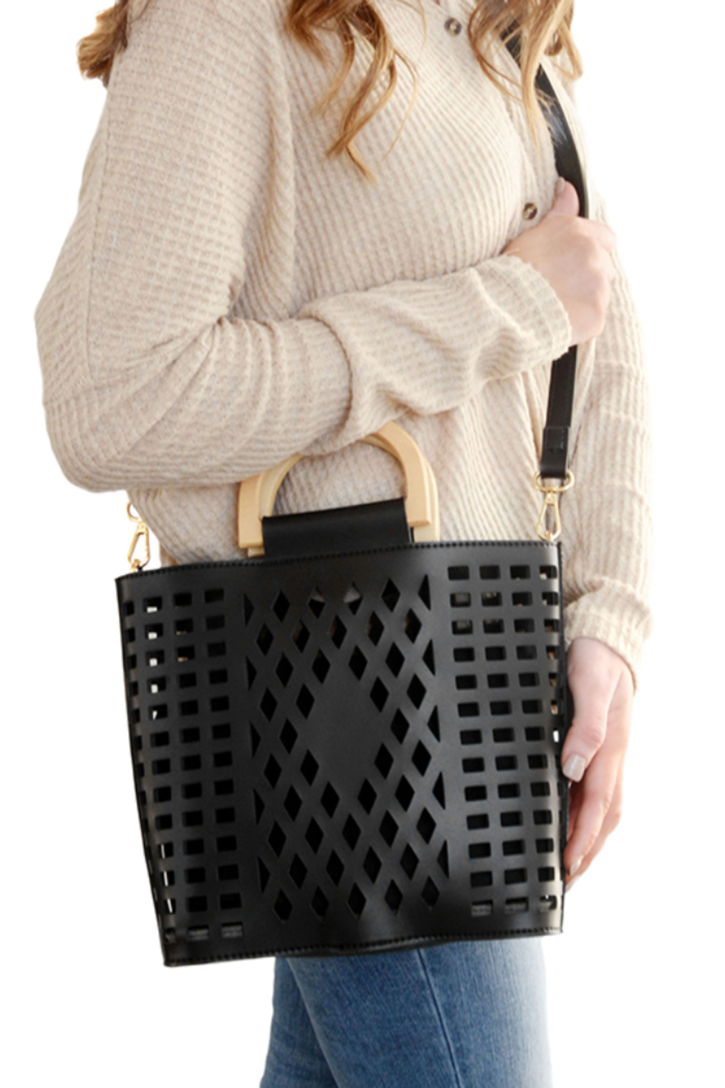 Joy Susan  Black Madison Cut Out Tote - Front Cropped Image