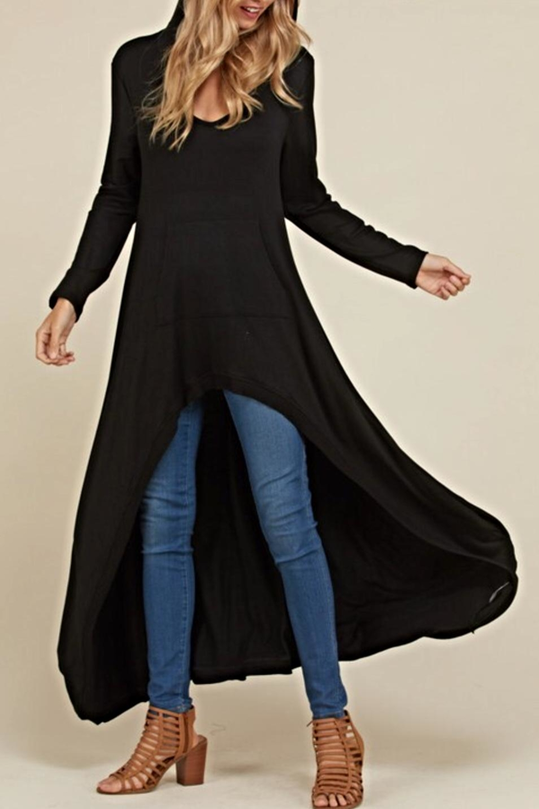 annabelle Black Maxi Tunic - Front Full Image