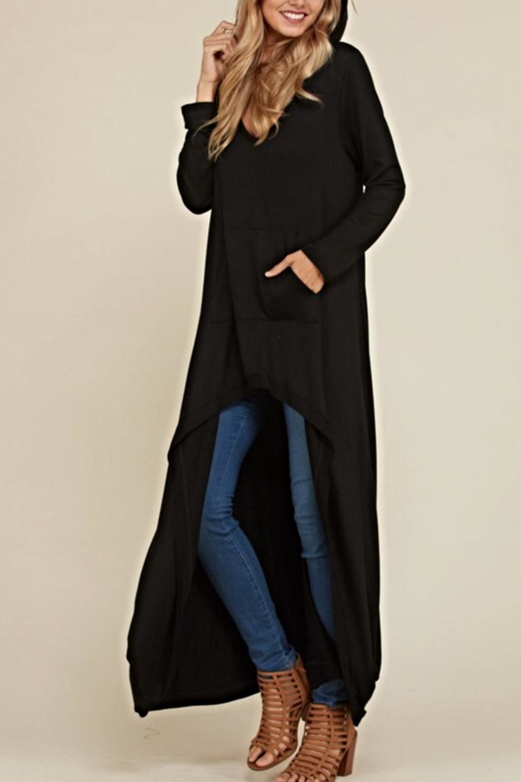 annabelle Black Maxi Tunic - Front Cropped Image
