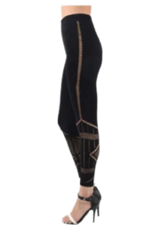 Dynamic Black Mesh Accent Leggings - Front cropped