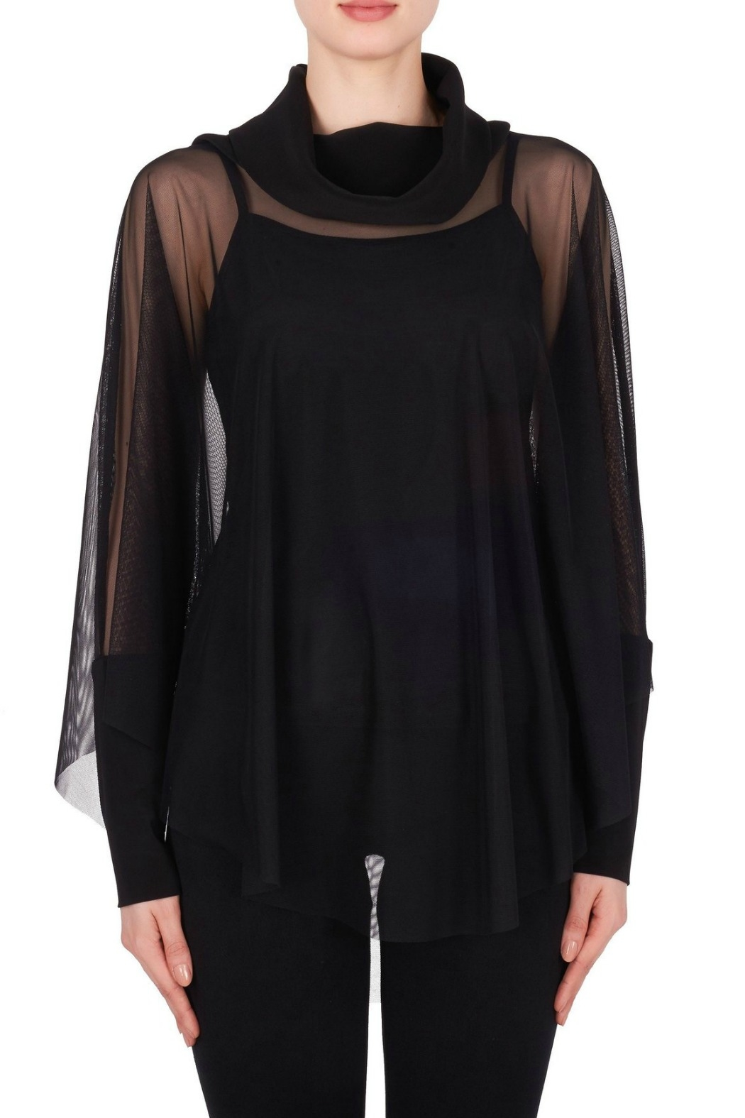 Joseph Ribkoff USA Inc. Black Mesh Overlay Top - Main Image