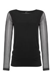 Kozan Black mesh sleeve tee shirt - Front cropped