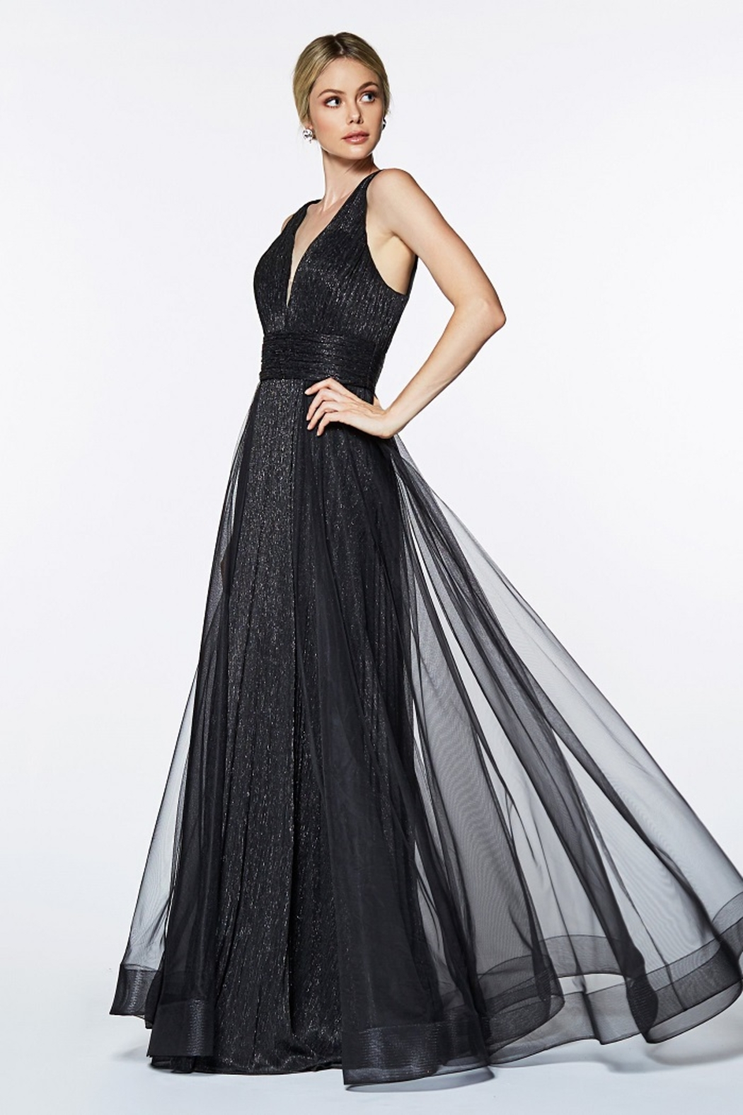 Cinderella Divine Black Metallic Long Formal Dress - Main Image