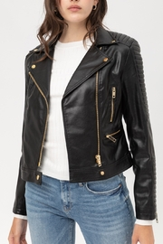 Apple Tree  Black Moto Jacket - Front cropped
