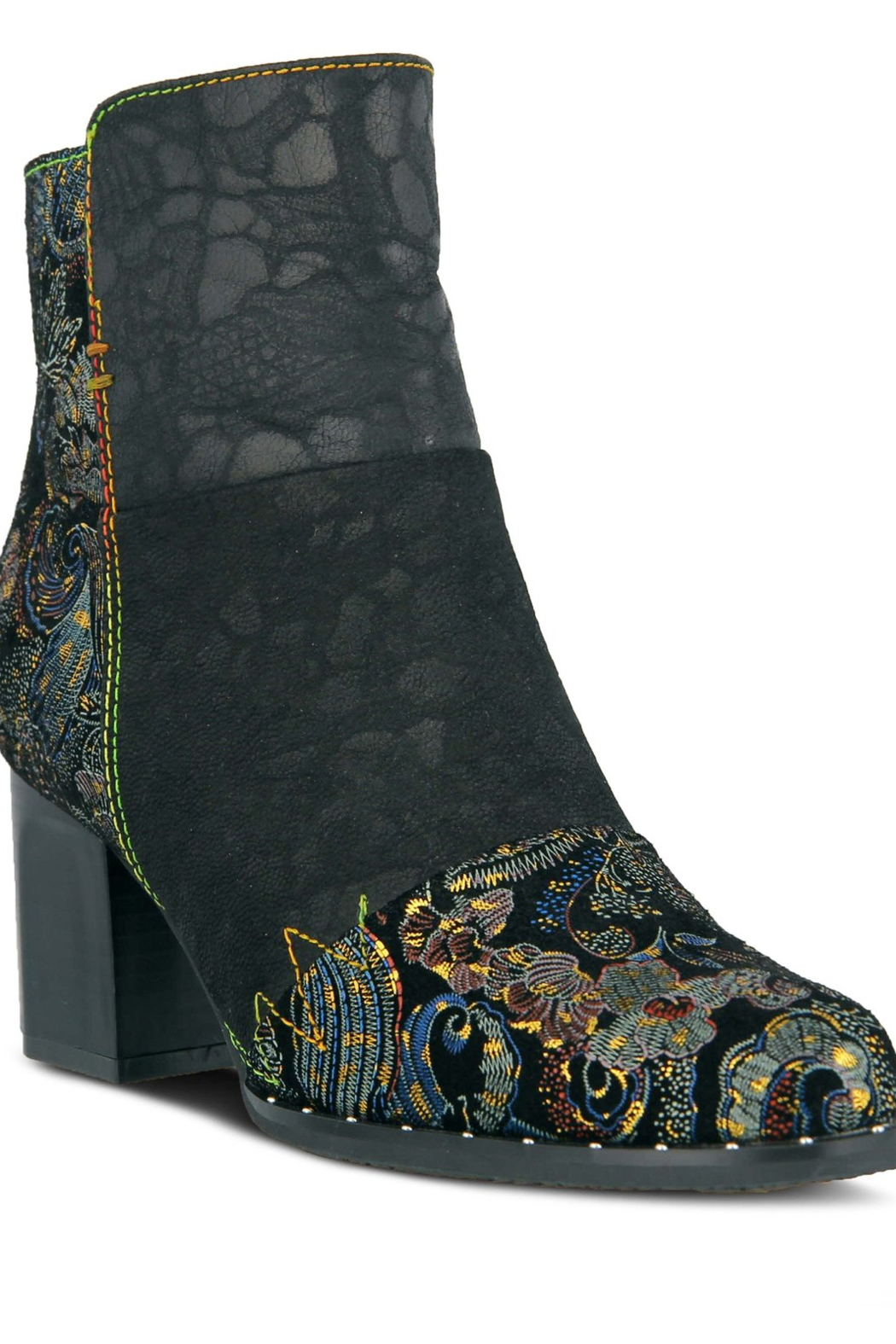 Spring Step  Black multi bootie - Front Cropped Image