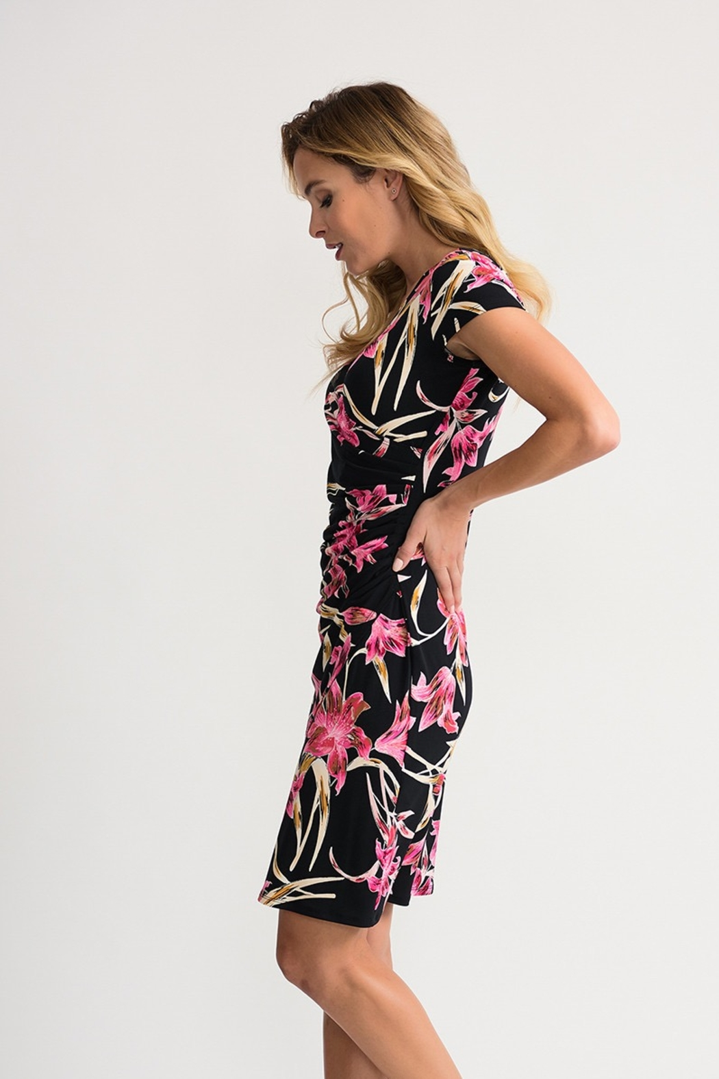 Joseph Ribkoff Black multi dress with pink lilies - Front Full Image