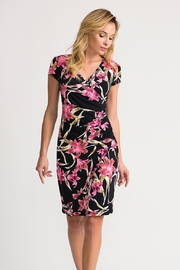 Joseph Ribkoff Black multi dress with pink lilies - Front cropped