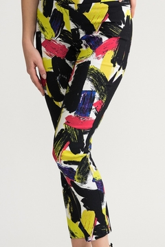 Joseph Ribkoff  black/multi geometric design pull on crop pant - Alternate List Image
