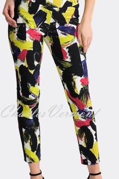 Joseph Ribkoff  black/multi geometric design pull on crop pant - Product List Image