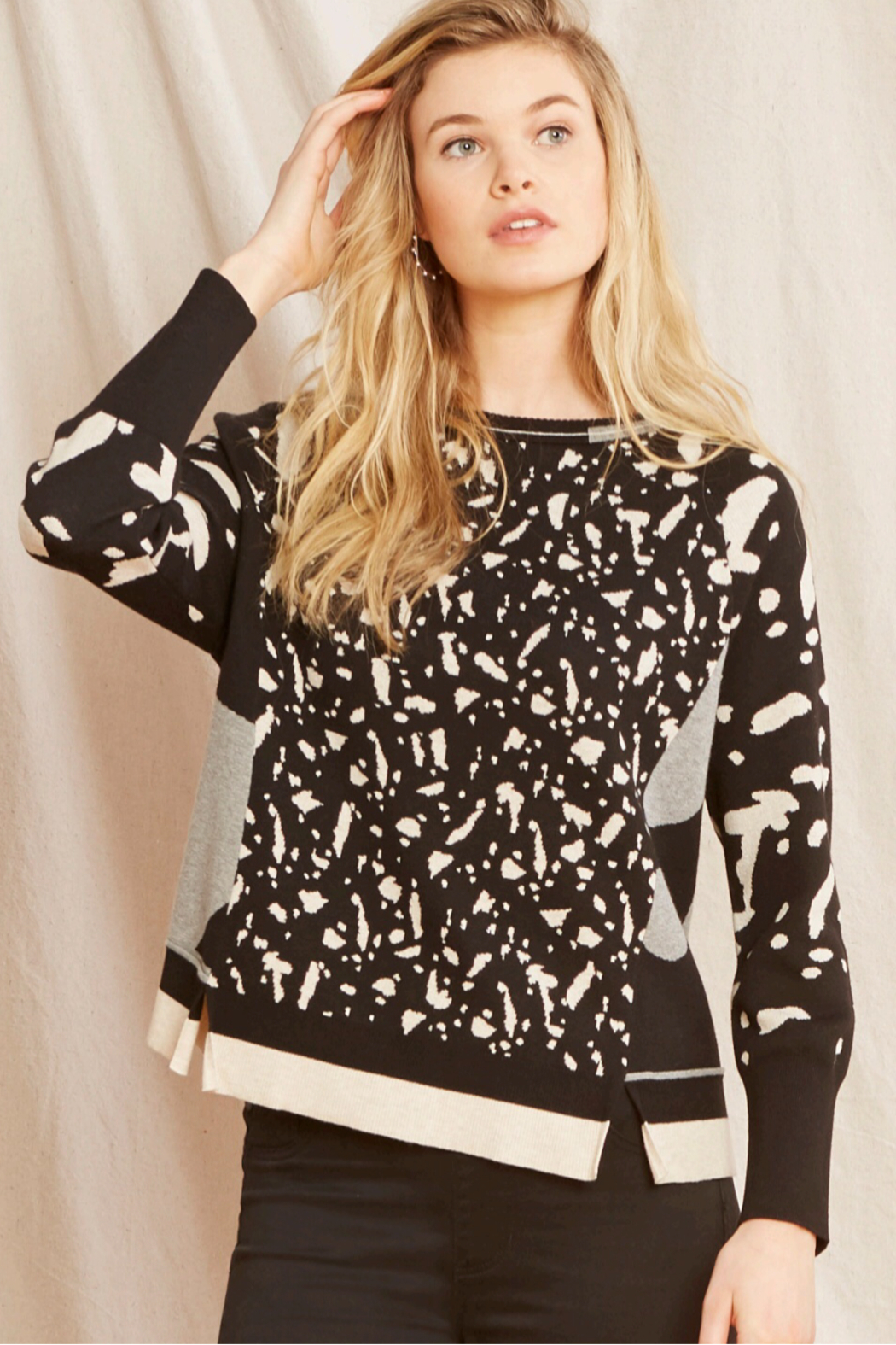 Nic +Zoe Black/Multi pattern pullover sweater - Main Image