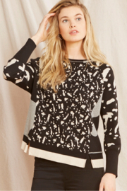 Nic +Zoe Black/Multi pattern pullover sweater - Front cropped