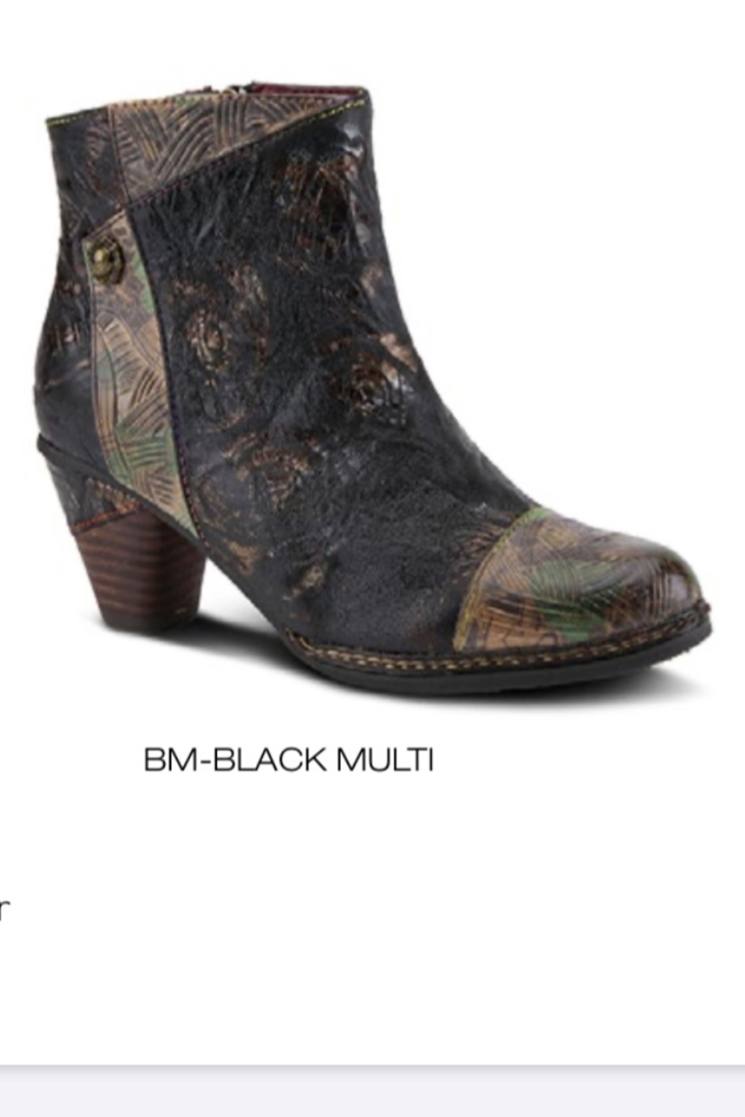 Spring Step  Black multi waterlilly bootie - Front Cropped Image