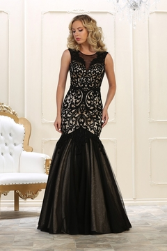 May Queen  Black & Nude Beaded Mermaid Formal Long Dress - Product List Image