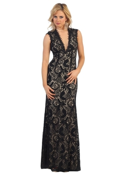 May Queen  Black & Nude Lace Overlay Long Formal Dress - Product List Image