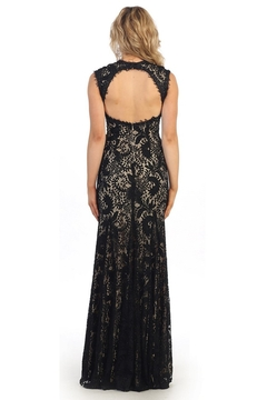 May Queen  Black & Nude Lace Overlay Long Formal Dress - Alternate List Image