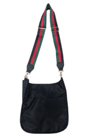 Ah!dorned Black Nylon Messenger w/ Stripe Adjustable Web Strap - Product Mini Image