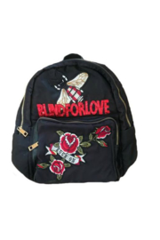 Ah!dorned BLACK NYLON STRIPE BLIND FOR LOVE PATCH BACKPACK - Product Mini Image