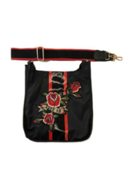 Ah!dorned BLACK NYLON STRIPE MESSENGER WITH ROCK ON PATCH - Product Mini Image